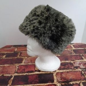 Womans Leopard Print Brown Pillbox Hat OS